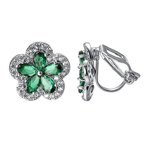 - Yoursfs Flower Earrings for Women Green Crytsal Silver Tone Clip on Earrings