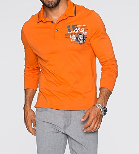 Herren Langarmpoloshirt im Regular Fit, 240550 in Orange dunkel 52/54 (L)