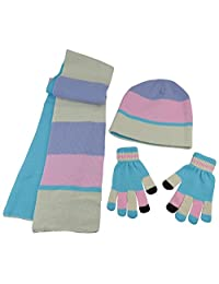 N'Ice Caps Kids Reversible Knitted Hat/Scarf/Magic Stretch Glove Accessory Set (7-10 Years, Winter White/Pink/Turquoise/Multi Touchscreen)