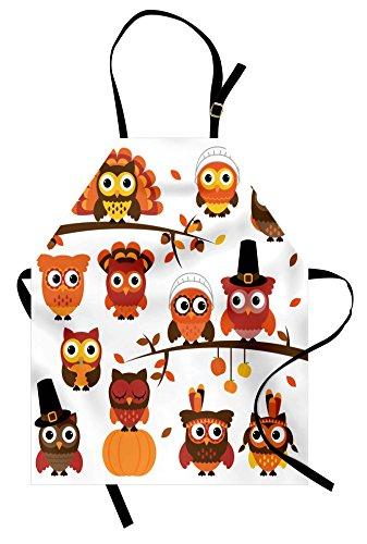 (Lunarable Thanksgiving Apron, Various Owl Cartoon Style Fall Autumn Branch Pilgrim's Hat, Unisex Kitchen Bib Apron with Adjustable Neck for Cooking Baking Gardening, Brown Orange)