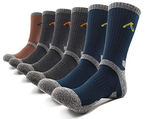 PEACE OF FOOT Hiking Socks boot socks For Mens 6(5+1) Pairs Multi Outdoor Sports Trekking Climbing Camping working Crew Socks (Gray 3, D-green 2, D-brown 1, Mens shoe size 10.5~13)