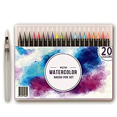 Watercolor Brush Pens Set - 20 colors | Soft, Flexible Markers for Kids and Adult Coloring Books, Art, Calligraphy, Drawing, Writing and more |Water Based Ink, Non-Toxic, Acid-free | WESTAF