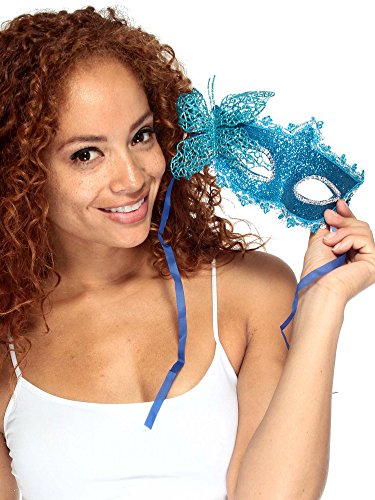 Simplicity Lace Venetian Masquerade Mask with Rhinestone & Flower, 3685_Blue