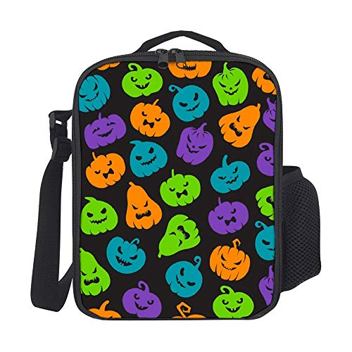 SARA NELL Insulated Halloween Pumpkins Pattern Scary Jack Lunch Bag Tote with Detachable Adjustable Shoulder Thermal Waterproof Large Capacity Outdoor Picnic Lunch Box for Kids Teens Adults]()