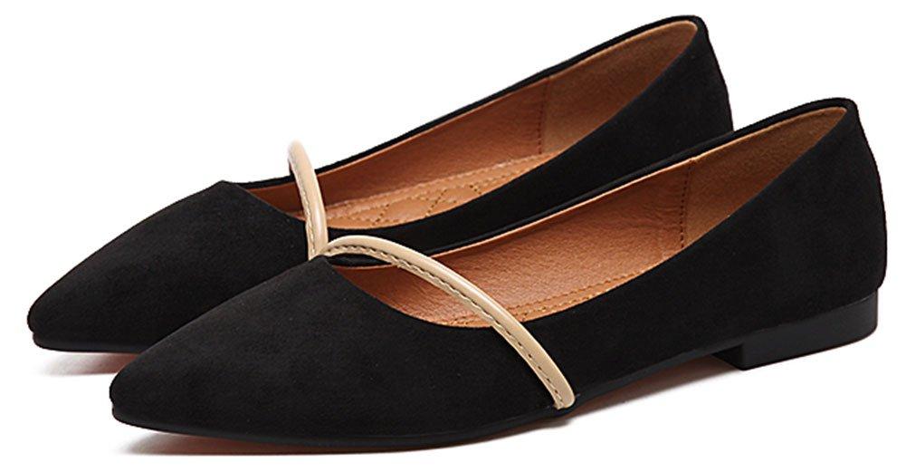 QZUnique Women's Pointy Toe Slip on Ballet Comfort Multi Color Suede Shoe Flat B073VHPYDN 6.5 B(M) US|Black