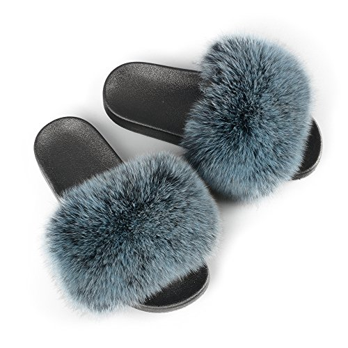 - Jancoco Max Women Real Fox Fur Slippers Slides Flat Soft Summer Shoes for Girls