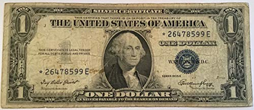 1935 E Series Star ⭐️ Blue Seal $1 One Dollar Silver Certificate US Note