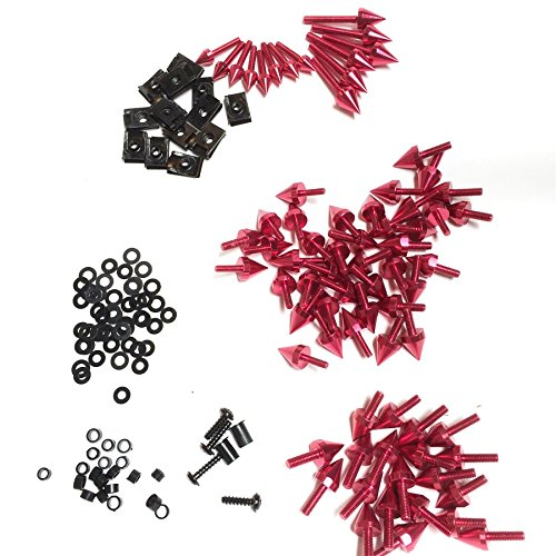 XKMT-Universal Red Spike Fairing Bolt kit Screws Sportbike Pack Compatible With Yamaha YZF R1 R6 R6S B00YWCGVE6