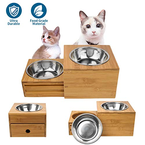 Artmeer Raised Dog Bowls Stand Feeder Adjustable Dog Feeding Bowl Station Bamboo Elevated Feeder 2 Bowls Stand Stainless Steel Bowls for Small Size Dogs,Kitten and Pupply(New Drawer of Bowls Stand)
