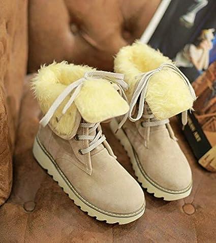 Amazon.com: Botas de piel para mujer, caliente, nieve, mujer ...