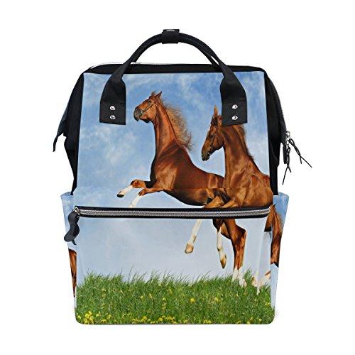ALIREA Two Horses Frolic On The Plain Diaper Bag Backpack, Large Capacity Muti-Function Travel (Frolic Horse)