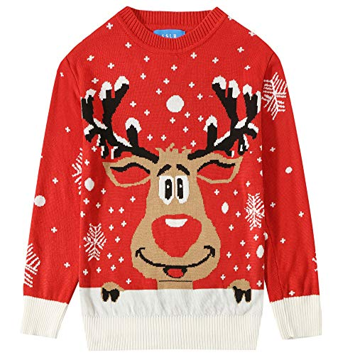 SSLR Big Boys' Funny Crewneck Pullover Ugly Christmas Sweater (Small(8), Red)