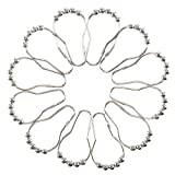 Innker 12Pcs High Quality Stainless Curtain Rings with 5 Rollers Stainless Undeformed and Durable