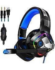Gaming Headset für PS4 PC Xbox One, ZIUMIER Over Ear Kopfhörer mit Noise Cancelling Mikrofon und Surround Sound, RGB LED Licht Weiche Komfort Ohrenschützer für Laptop