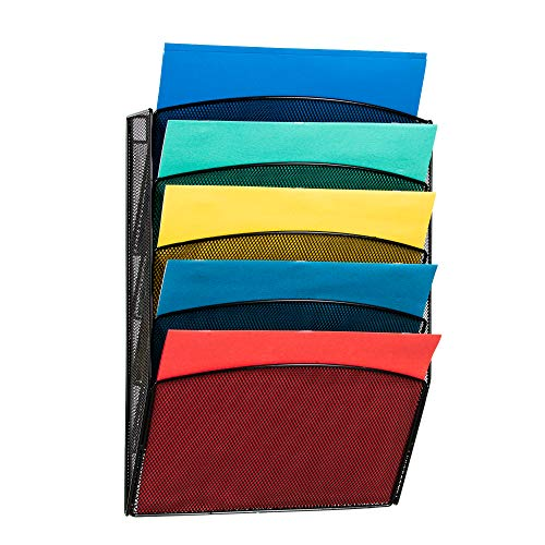 Hanging Wall File Organizer | Paper Organizer | Wall Mount 5 Trays Magazine Rack | Organize Mail | Paper | Supplies |Pamphlets|Books | Home or Office | Cubicle | Class Room (Black)