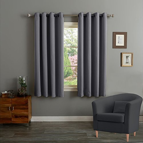 Kee Brown@ New Grommet Blackout Window Treatment Curtains for Bedroom W52 by L63-inch (Grey)