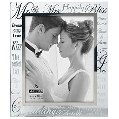 Malden Mirrored Glass Wedding Picture Frame, Mr. and Mrs., 8 by 10-Inch