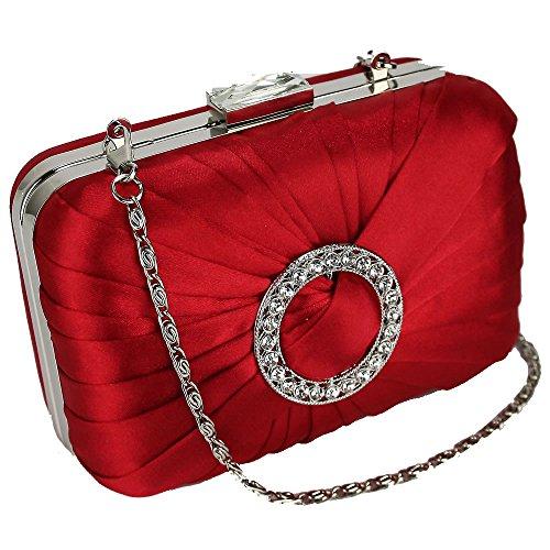 Trendstar de las mujeres embrague tarde bolsas Damas diseñador estudiantes de baile de las partes de las bolsas de satén embrague Rojo - Rouge 1