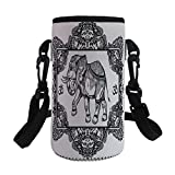 Small Water Bottle Sleeve Neoprene Bottle Cover,Deity in Oriental Floral Frame Spiritual Illustual,fit for Stainless Steel/Plastic/Glass Bottles
