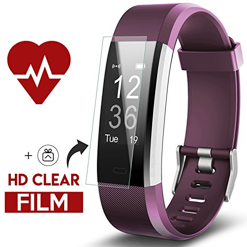 Fitness Tracker, Kinbom Heart Rate Monitor Smart Watch With Sleep Monitor, Step Counter, GPS, Message Notification, Bluetooth 4.0, IP67 Waterproof Activity Tracker for Android&iOS Smart Phone (Purple)