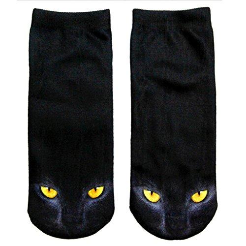 Men Horrify Black Cat Crew Socks Women Scary Gleaming Cat Eyes Boat Sock (Wicked Witch Socks)