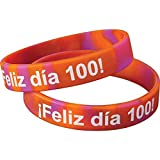 Really Good Stuff Pulsera de Silicn Feliz día 100 (Spanish Happy 100th Day Silicone Bracelets)