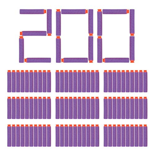 EC2BUY 200pcs 72cm Refill Bullet Darts for Nerf Nstrike Elite Series Blasters Kid Toy Gun  PurpleSuction
