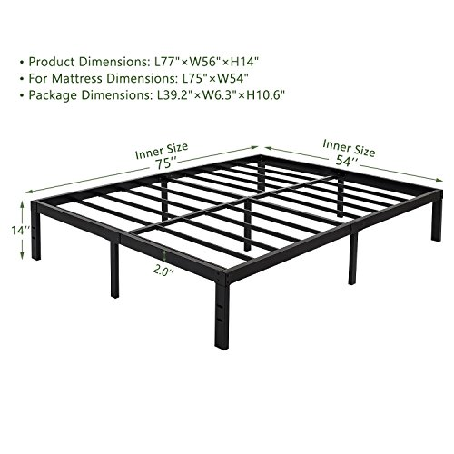 45Min 14 Inch Platform Bed Frame/Easy Assembly Mattress Foundation/3000lbs Heavy Duty Steel Slat/Noise Free/No Box Spring Needed, King/Queen/Full/Twin (Full)