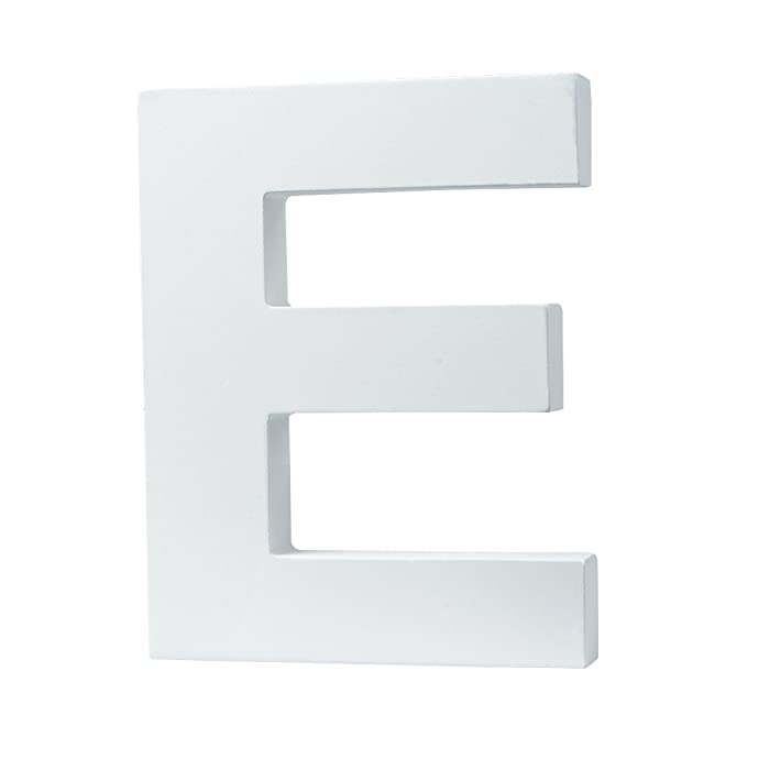 """5.9""""(L) x4.5""""(H) x0.8""""(W) 12x11.5x2cm Wall Letters Marquee Alphabet E Wood Wooden Number DIY Block Words Sign Hanging Decor Letter for Home Bedroom Office Wedding Party Decor White"""
