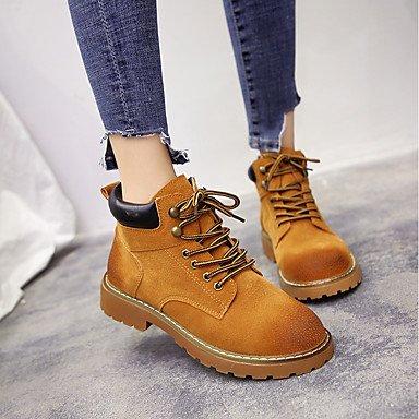 DESY bas de femme chaussures Daim automne hiver amphibies Bottes Bout Rond Bottes mi-mollet lacets pour Casual Noir Jaune jaune ALFIzw