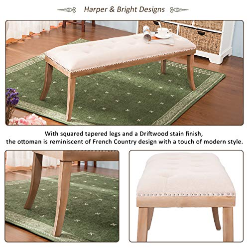 HARPER & BRIGHT DESIGNS Upholstered Button Tufted Bench with Solid Wood Legs and Nailhead Trim (Fabric Beige) by Harper & Bright Designs (Image #3)