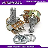 Isali Electronic - 5PCS 20K ohm WH148 B20K 6pin 20K Potentiometer 15mm Shaft with Nuts and Washers Hot