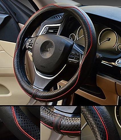 Piel Genuina HCMAX Prima Veh/ículo Cubierta del Volante Coche Protector del Volante Universal Di/ámetro 38cm 15