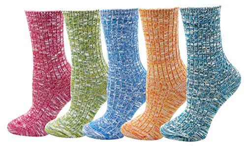 (Women's Lady's 5 Pack Vintage Style Cotton Crew Socks Multi Color One)