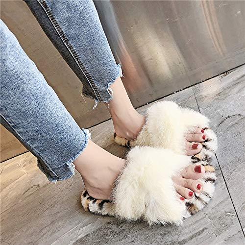 Femme Plates Chaussure Chaussures Maintien Hiver Rond Automne Au Bout Léopard Femme 2018 Imprimé À Nouveau Hiver Pour Chaud Beige Chic w66RqA1x