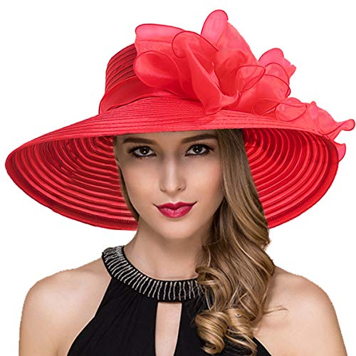 Women Kentucky Derby Church Dress Cloche Hat Fascinator Floral Tea Party Wedding Bucket Hat S052 (S062-Red) (Red Ladies Adjustable Hat)