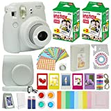 Fujifilm Instax Mini 9 Instant Camera Smokey White with Carrying Case + Fuji Instax Film Value Pack (40 Sheets) Accessories Bundle, Color Filters, Photo Album, Assorted Frames, Selfie Lens + More
