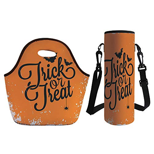 3D Print Neoprene lunch Bag with Kit Neoprene Bottle Cover,Vintage Halloween,Trick or Treat Halloween Theme Celebration Image Bats Tainted Backdrop Decorative,Orange Black,for Adults Kids