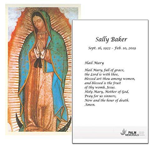 Set of 50 Custom Funeral - Memorial - Mass Cards (Guadalupe)