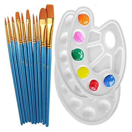 Xubox Paint Brushes Set, 10 Pcs Round-Pointed Tip Nylon Hair Art Brushes with 3 Pcs Plastic Paint Tray Palettes for Acrylic Oil Watercolor Miniature Detail Rock Model Craft Body Nail Face Painting