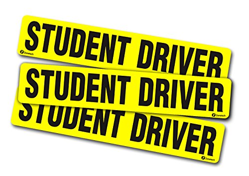 Zone Tech Set of 3 Student Driver Vehicle Bumper Magnet - Premium Quality Reflective Student Driver Bumper Safety Sign Magnet