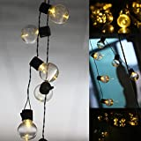 Outdoor Solar Globe Bulb String Lights,WONFAST Waterproof 10LED Clear Bulbs Fairy String Lights for Wedding Party Christmas Garden Holiday Landscape Decoration (Warm White)