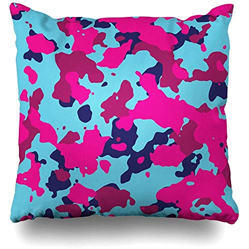Throw Pillow Cover Black Blue Abstract Bubble Gum Camo Technology Pattern Pink Army Battle Camoflage Camouflage Design Zippered Pillowcase Square Size 18 x 18 Inches Home Decor Cushion Case
