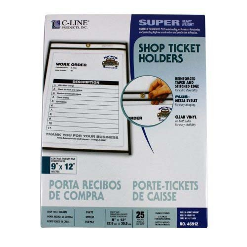 C-Line Products, Inc. Products - Shop Ticket Holder, Stitched, 6amp;quot;x9amp;quot;, 25/BX, Clear Vinyl - Sold as 1 BX - Ticket holders offer heavy-duty clear vinyl pockets with stitched, reinforced black edging. Metal eyelet at top is designed for hanging. Each ticket holder pocket has a clear front and back.