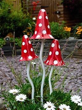 Cobertizo Witchety con 46 cm tuftop tallo y 2 x 38 cm pequeño Minis - metálicos rojo/blanco: Amazon.es: Jardín