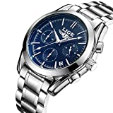 Stainless Steel Watches for Men,Mens Water Resistant Chronograph Business Casual Quartz Wrist Watch