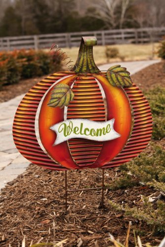 Pumpkin Garden Stake,Metal,20x2x29 Inches,Assorted 3