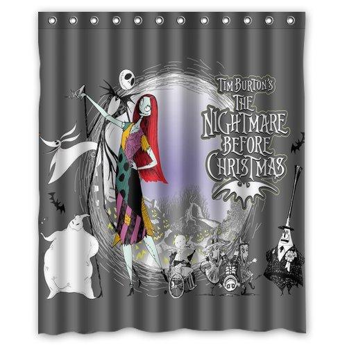 ScottShop Custom The Nightmare Before Christmas Shower Curtain Decoration Waterproof Polyester Fabric Bathroom Shower Curtains 60