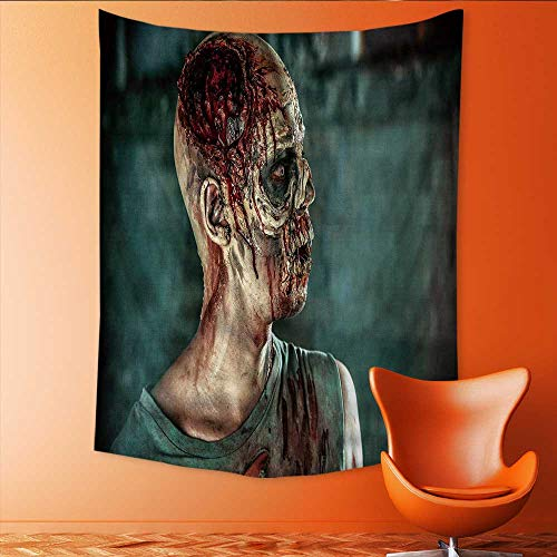 Auraisehome Wall Tapestry Close up Portrait of a Horrible Scary Zombie Man Halloween Home Decorations for Living Room Bedroom 70W x 84L INCH