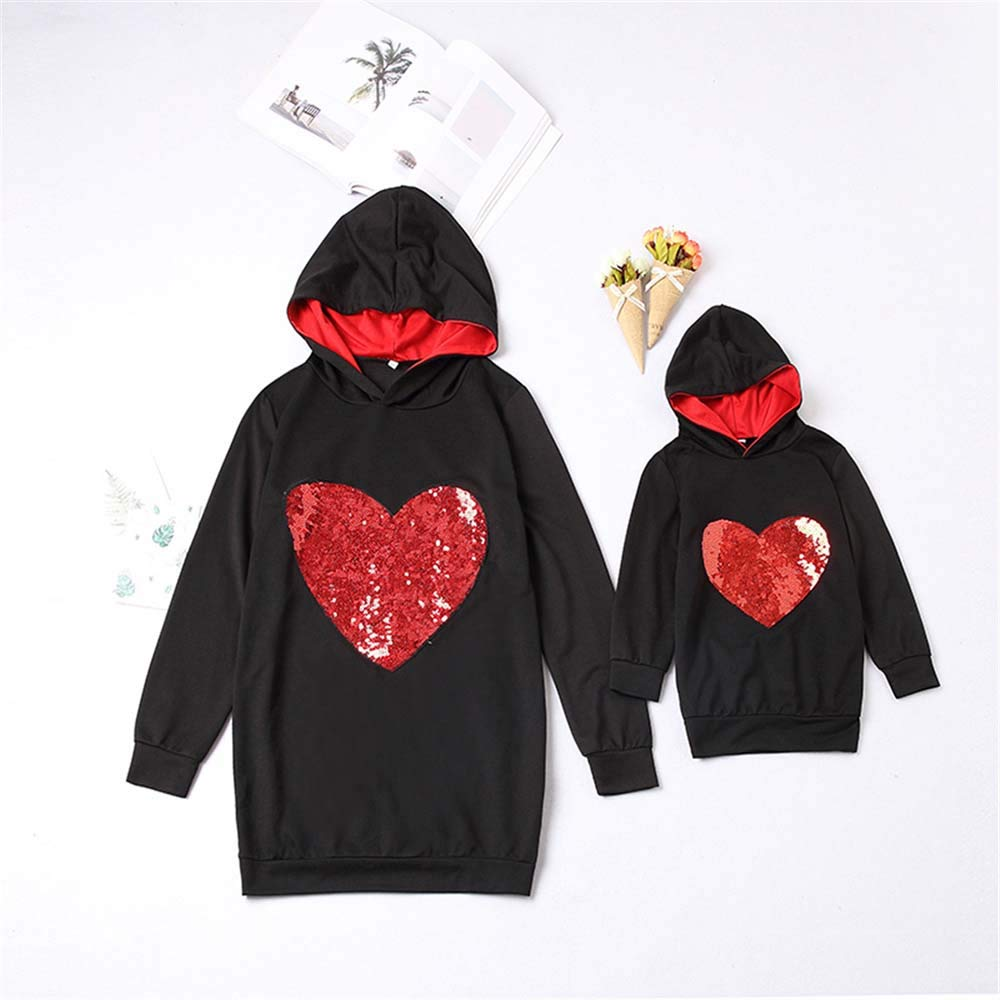 Mommy and Me Clothes Sequin Heart Shape Long Sleeve Hoodies Family Matching Fashion Sweatshirt Outfits Set